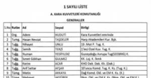 TSK'dan ihraç edilen personelin listesi
