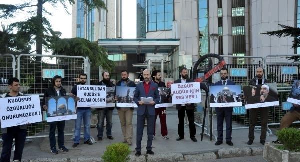 İsrail Konsolosluğu önünde Filistin eylemi