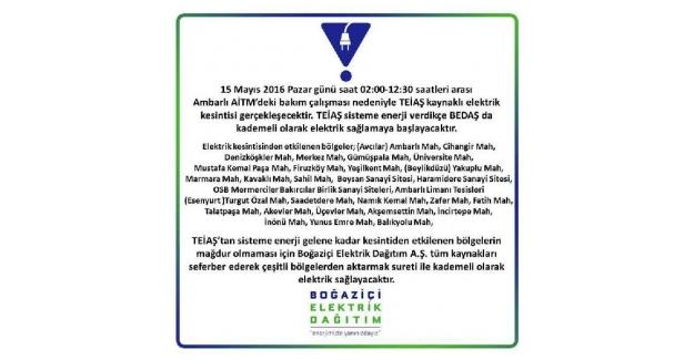 İstanbul'un 3 ilçesi 10.5 saat elektriksiz kalacak