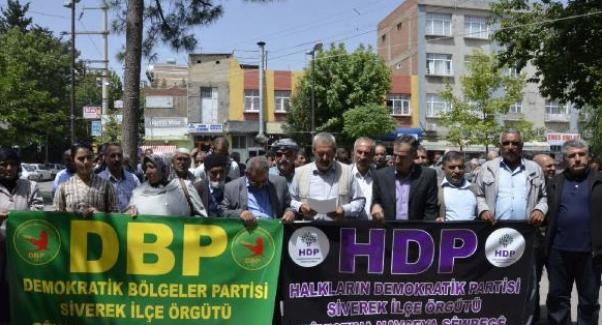 Şanlıurfa Siverek'te HDP ve DBP'den gözaltı protestosu