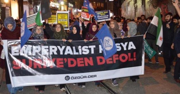 Taksim'de Rusya için protesto yürüyüşü