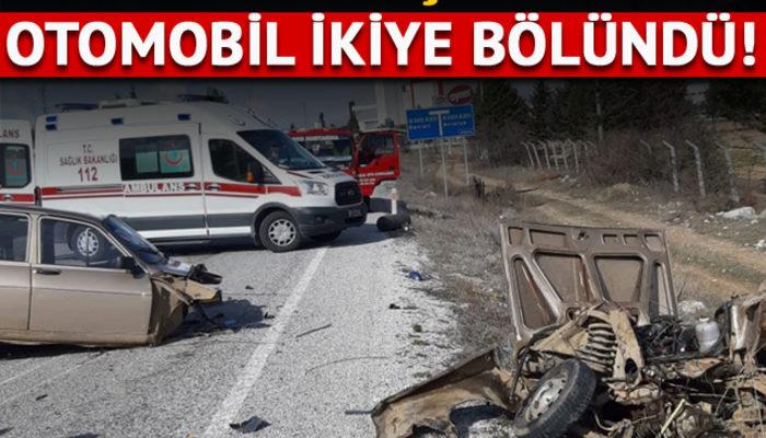 Denizli'de kaza yapan otomobil ikiye bölündü: 4 yaralı
