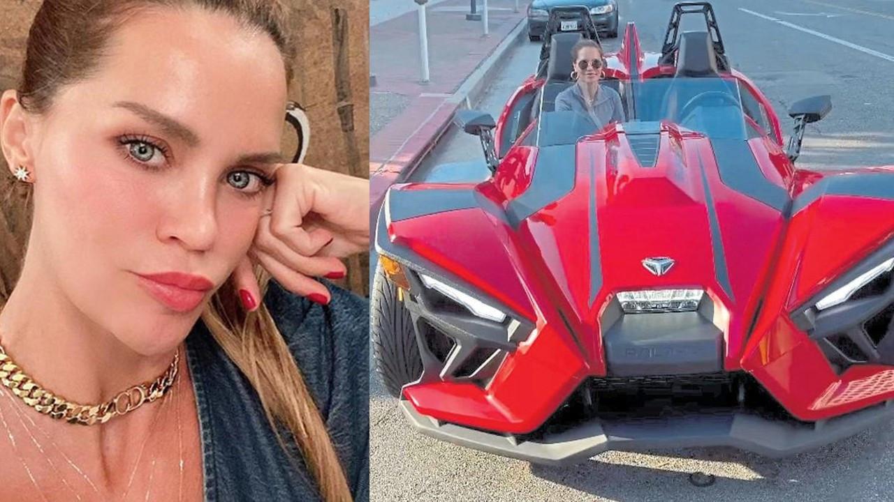 Ebru Şallı ilginç arabasıyla poz verdi