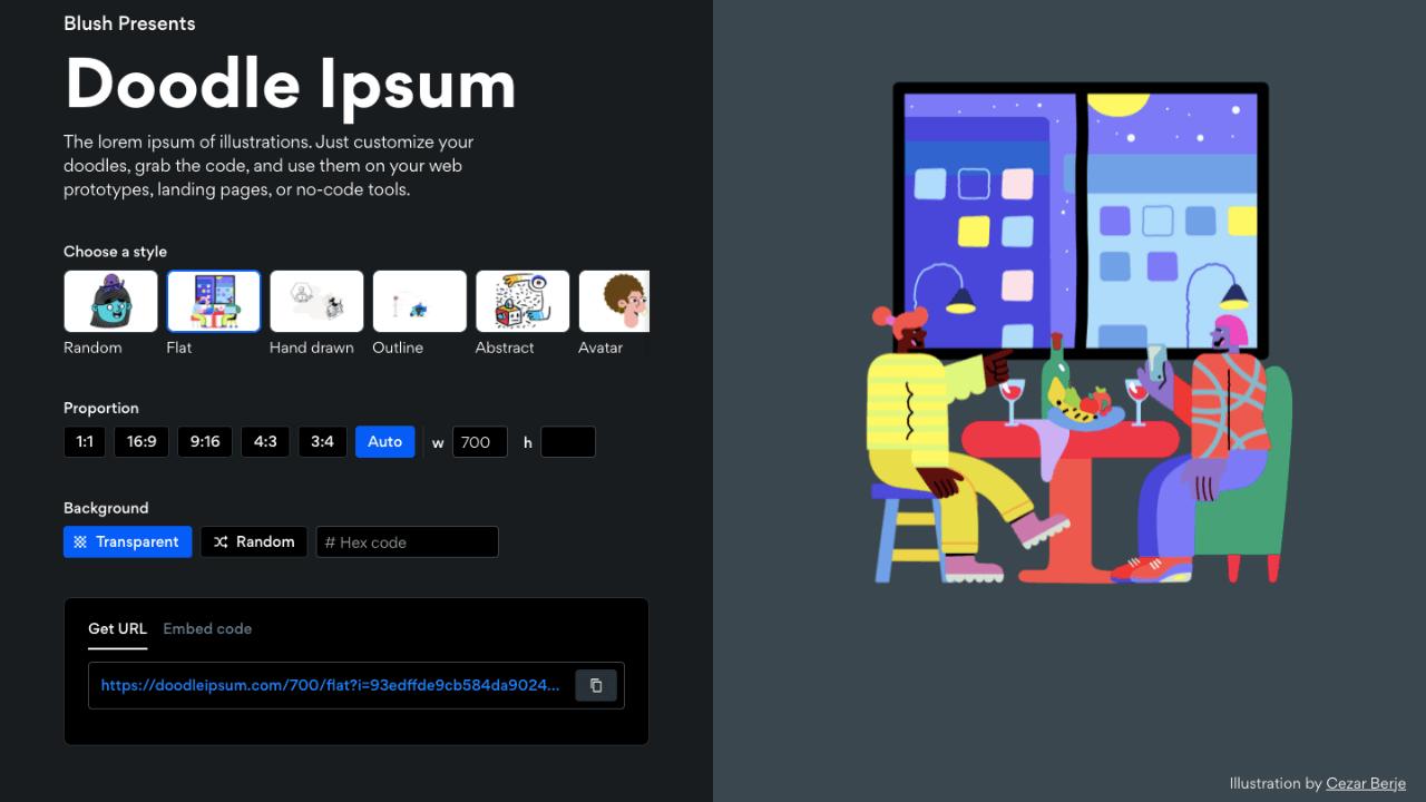 Geliştiriciler için ücretsiz illüstrasyon aracı: Doodle Ipsum