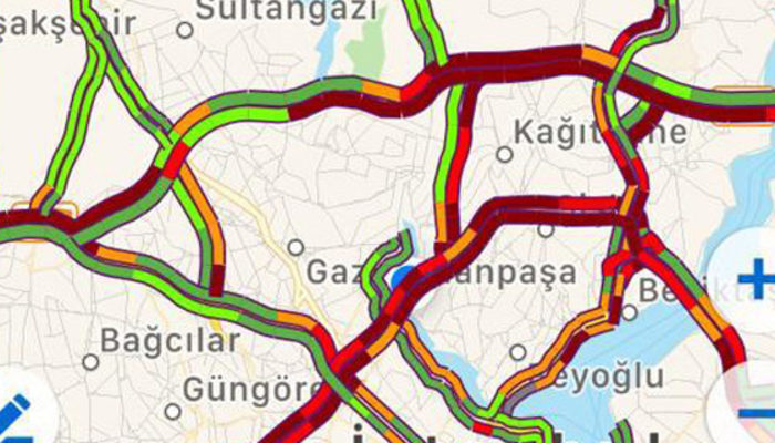 İstanbul'da trafik yoğunluğu yüzde 70 'in üzerine çıktı