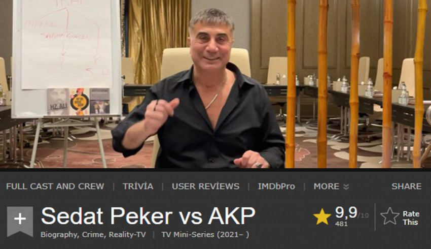 Sedat Peker'in videoları film sitesi IMDb'de ilk sıraya yükseldi