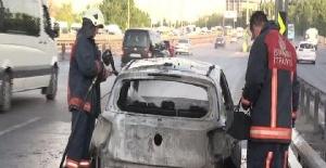 Lüks otomobil D-100'ün ortasında alev alev yandı