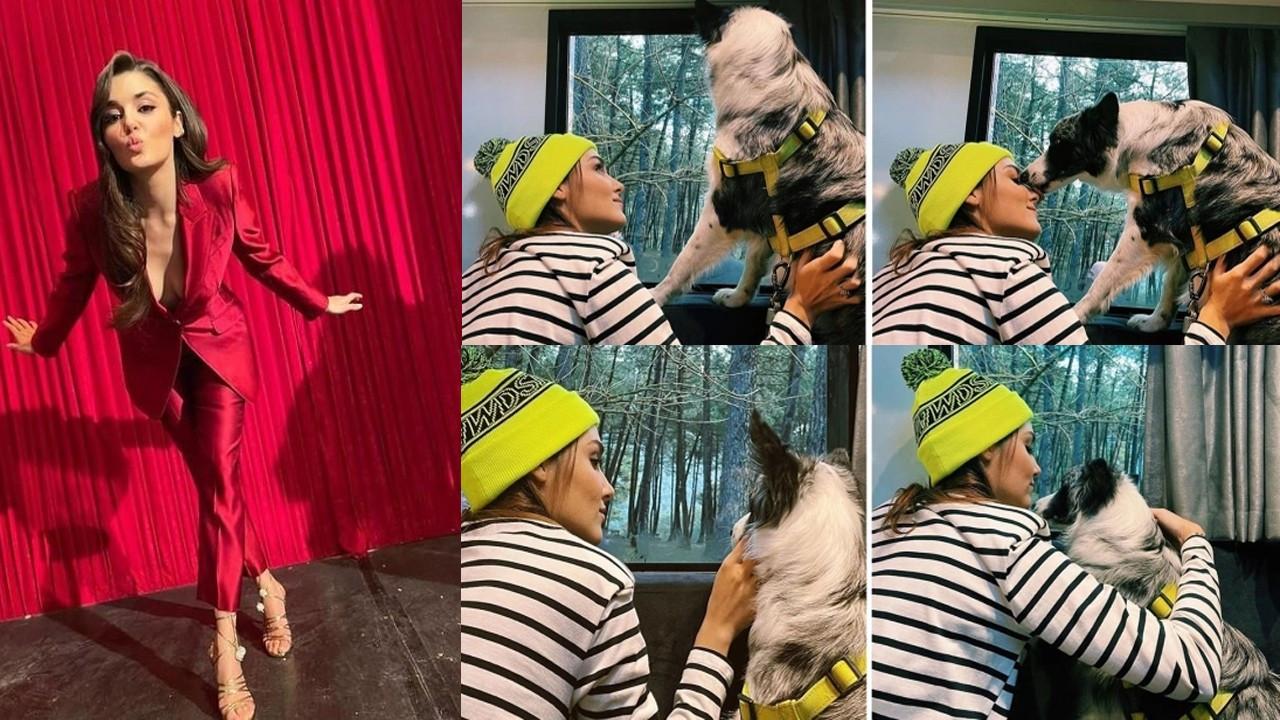 Hande Erçel'den köpeğiyle renkli pozlar