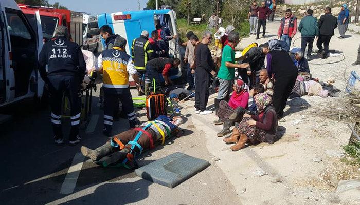 İşçileri taşıyan midibüs devrildi!...