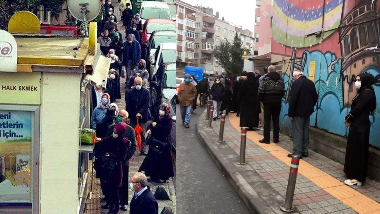 İstanbul'da lebalep Halk Ekmek kuyruğu