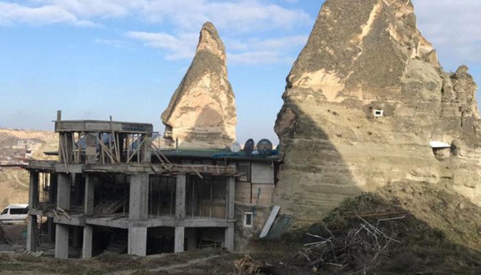 Peri bacalarının yakınındaki otel inşaatlarıyla...
