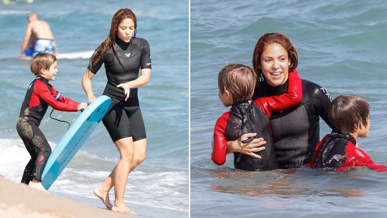 Shakira ve çocuklarının sörf günü