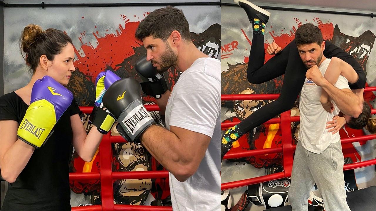 Ünlü çiftin boks maçı Berk Oktay'ın omzunda bitti