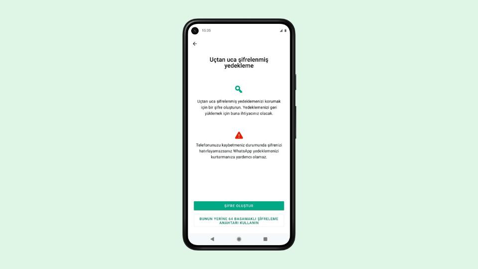 WhatsApp sohbet geçmişinizi uçtan uca şifrelemenizi sağlıyor