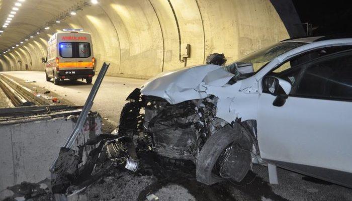 Zonguldak'ta tünel girişinde korkunç kaza! Araç hurdaya döndü